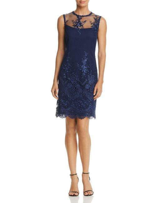 Nanette Nanette Lepore - Blue Embroidered Mesh Sheath Dress - Lyst
