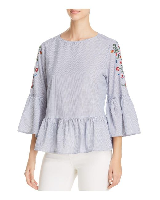 Beach Lunch Lounge | Blue Embroidered Bell Sleeve Top | Lyst