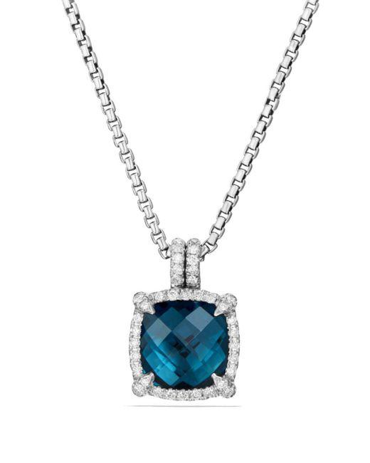 David Yurman - Châtelaine Pavé Bezel Pendant Necklace With Hampton Blue Topaz And Diamonds - Lyst