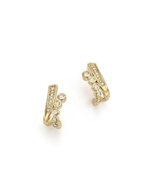 Dana Rebecca | Metallic 14k Yellow Gold Lulu Jack Diamond Bezel Huggie Earrings | Lyst