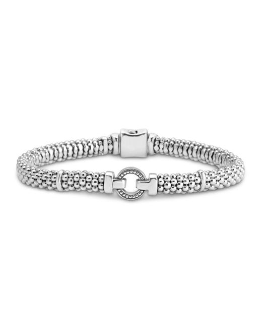 Lagos - Metallic Sterling Silver Caviar Bracelet With Open Circle - Lyst