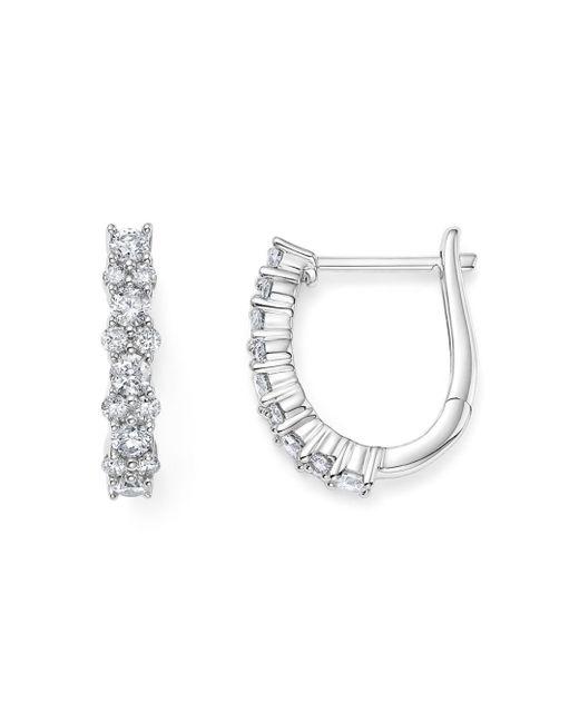 Women S Diamond Huggie Hoop Earrings In 14k White Gold