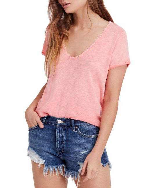 Free People - Pink Saturday Lace-trimmed Tee - Lyst