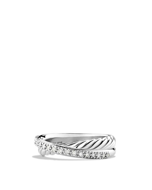 David Yurman | Metallic Crossover Ring With Diamonds | Lyst