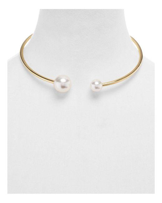 Rebecca Minkoff - Metallic Simulated Pearl Collar Necklace - Lyst