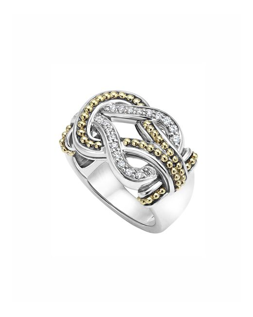 Lagos - Metallic Sterling Silver And 18k Gold Newport Diamond Ring - Lyst