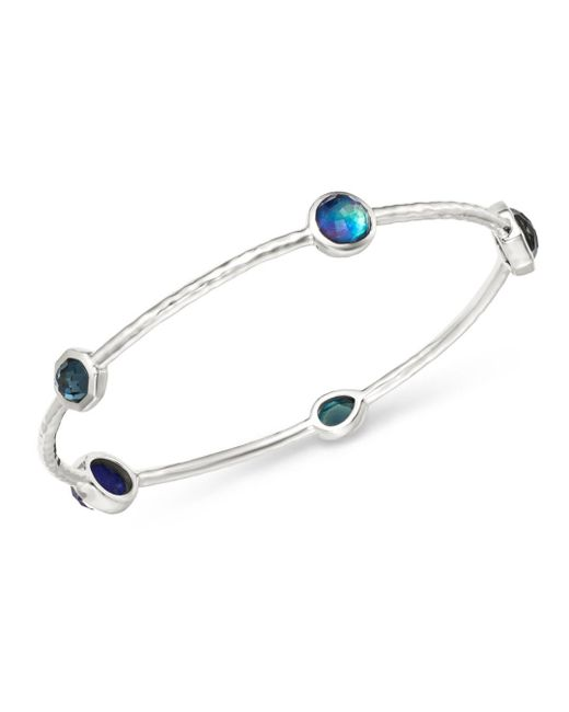 Ippolita - Metallic Sterling Silver Rock Candy Eclipse Five-stone Bangle Bracelet - Lyst