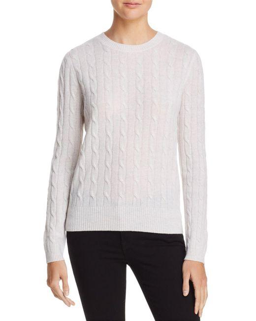 Aqua - White Cashmere Cable Crewneck Cashmere Sweater - Lyst