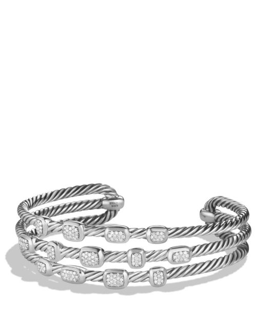 David Yurman - Metallic Confetti Narrow Cuff Bracelet With Diamonds - Lyst