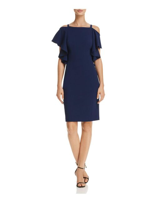 Adrianna Papell | Blue Cold-shoulder Sheath Dress | Lyst