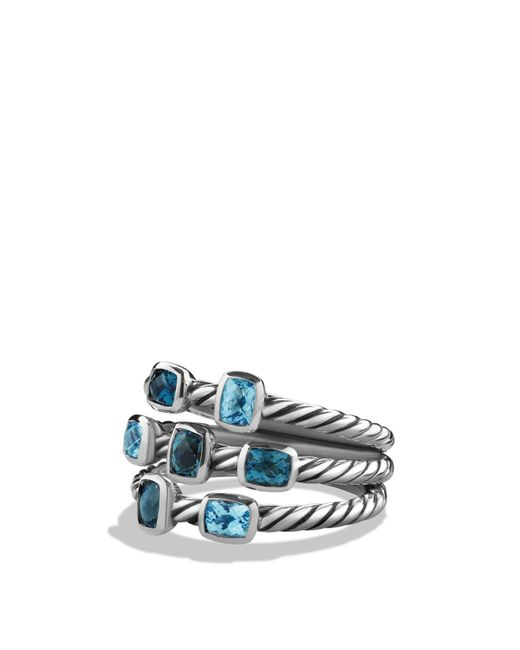 David Yurman | Metallic Confetti Ring With Blue Topaz And Hampton Blue Topaz | Lyst