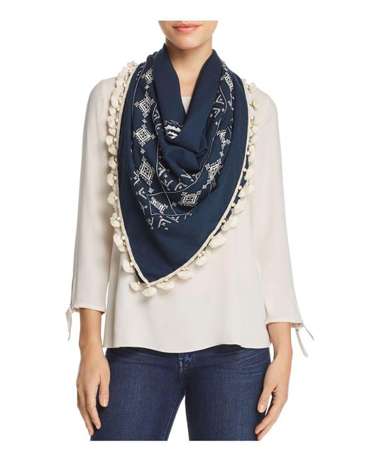 Tory Burch - Blue Tassel Embroidered Geometric Scarf - Lyst