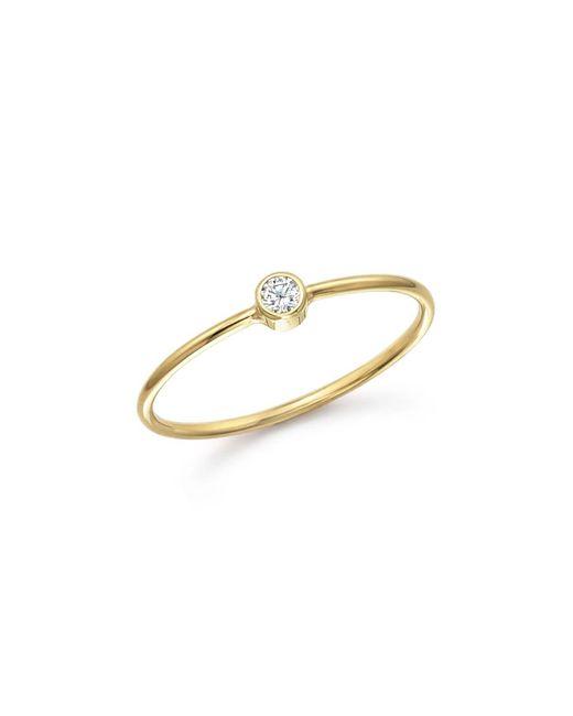 Zoe Chicco | Metallic 14k Yellow Gold And Diamond Bezel Thin Ring | Lyst
