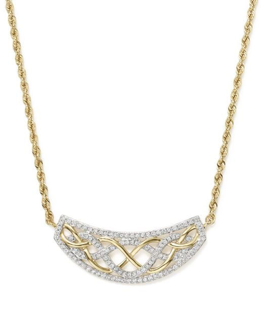 Bloomingdale's - Metallic Diamond Micro Pavé Necklace In 14k Yellow Gold, .50 Ct. T.w. - Lyst