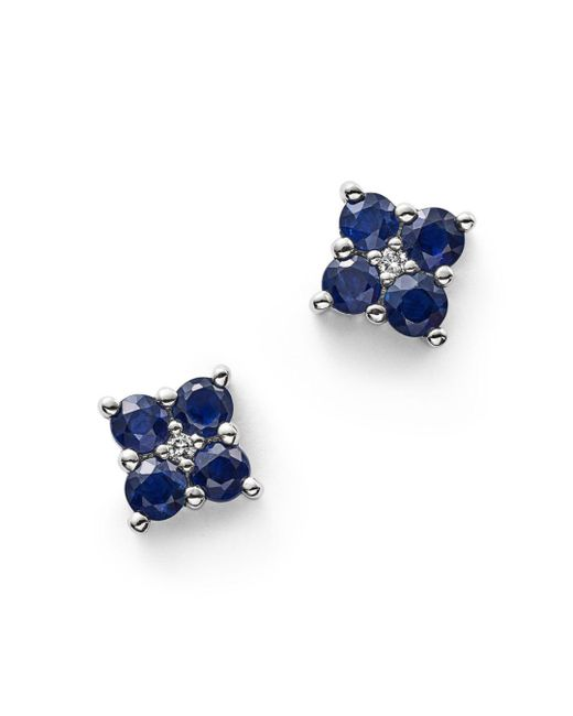 Bloomingdale's - Blue Sapphire And Diamond Stud Earrings In 14k White Gold - Lyst