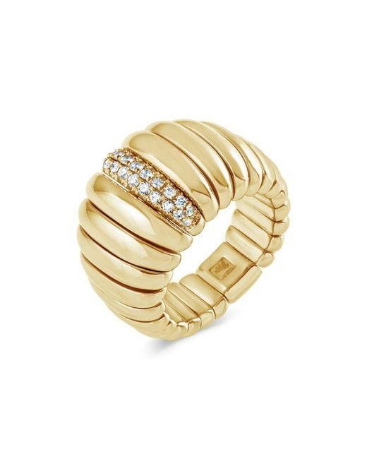 Hulchi Belluni - Metallic 18k Yellow Gold Tresore Diamond Wide Band Ring - Lyst