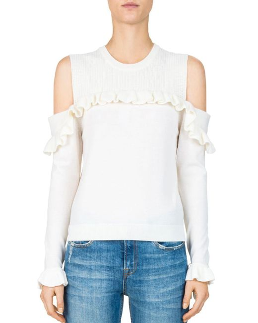 The Kooples - White Ruffled Cold-shoulder Sweater - Lyst