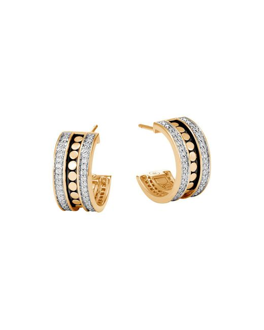 John Hardy | Metallic 18k Yellow Gold Dot Diamond Hoop Earrings | Lyst
