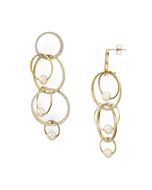 Nadri - Metallic Pavé Overlapping Earrings - Lyst