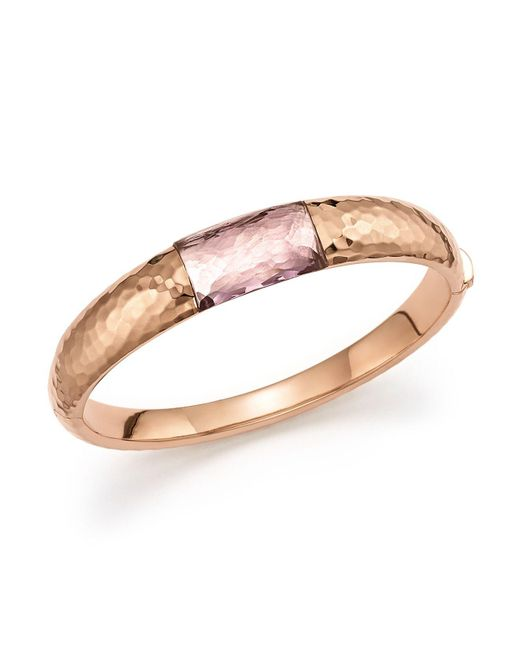Roberto Coin | Pink 18k Rose Gold Martellato Bangle With Amethyst | Lyst