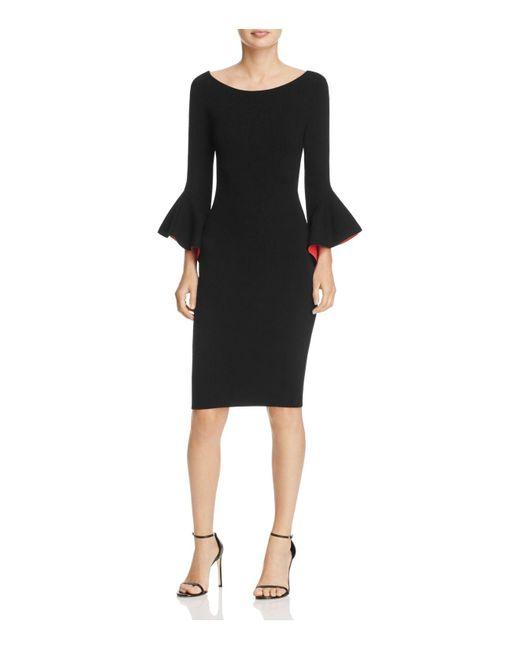 MILLY | Black Bell-sleeve Sheath Dress | Lyst