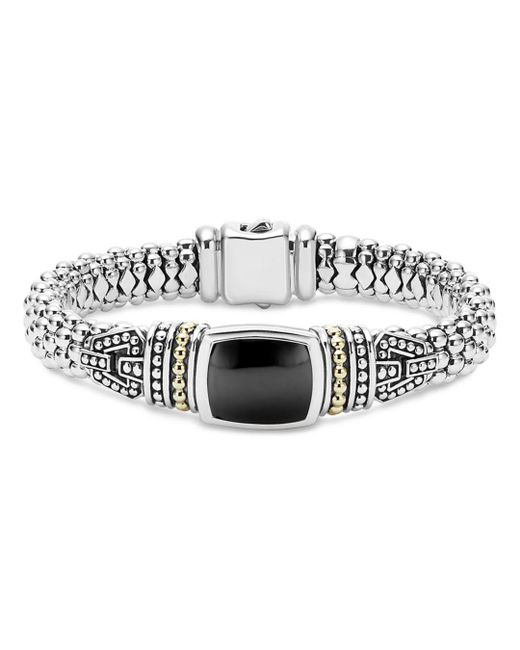 Lagos - Metallic 18k Gold And Sterling Silver Caviar Color Bracelet With Black Onyx - Lyst