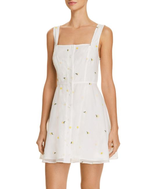The East Order - White Emilia Embroidered Floral Mini Dress - Lyst