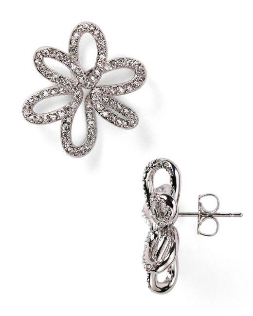 Nadri - Metallic Open Flower Stud Earrings - Lyst