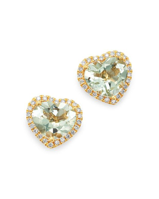 Kiki McDonough - Metallic 18k Yellow Gold Grace Green Amethyst & Diamond Heart Earrings - Lyst