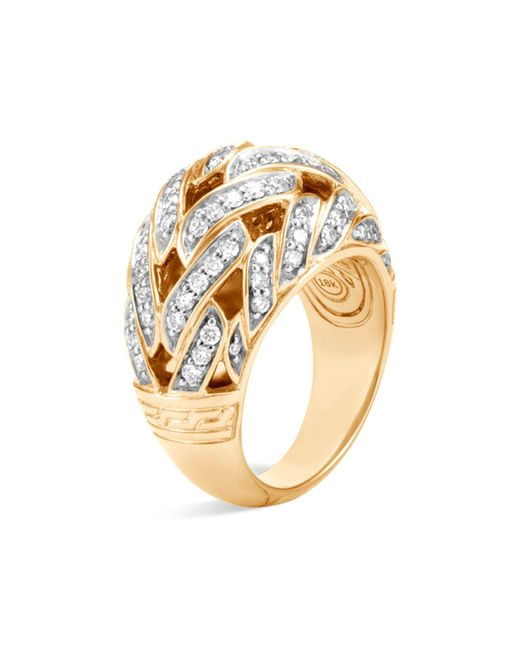 John Hardy | Metallic 18k Yellow Gold Classic Chain Pavé Diamond Dome Ring | Lyst
