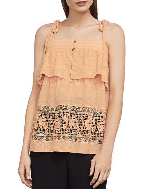BCBGMAXAZRIA - Natural Sleeveless Embroidered Top - Lyst
