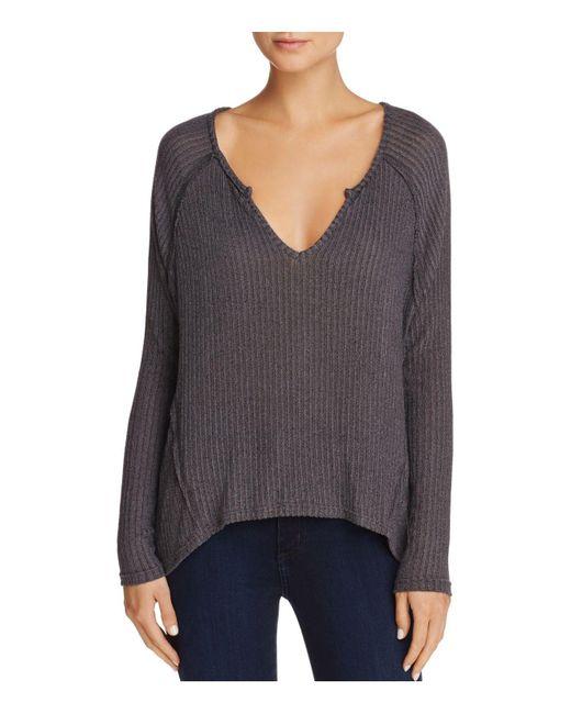 Aqua | Gray V-neck High/low Sweater | Lyst