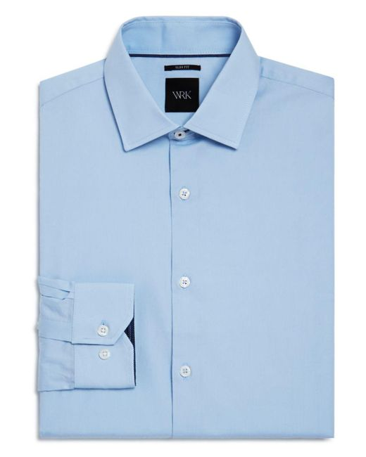 W.r.k. - Blue Solid Stretch Slim Fit Dress Shirt for Men - Lyst