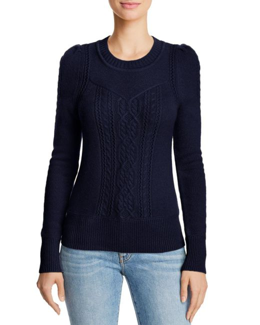 Aqua - Blue Cashmere Mixed Knit Cashmere Sweater - Lyst