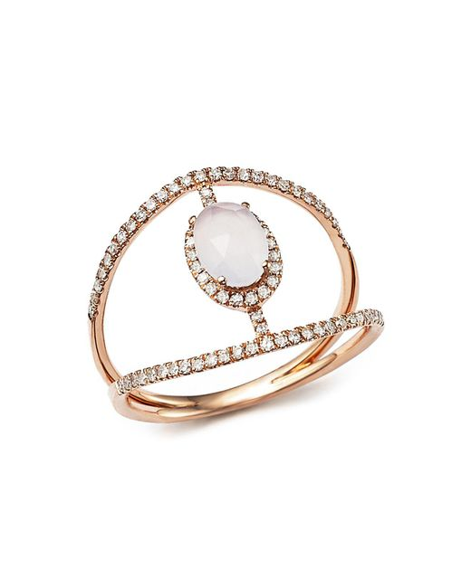 Meira T - Multicolor 14k Rose Gold Chalcedony Cage Ring With Diamonds - Lyst
