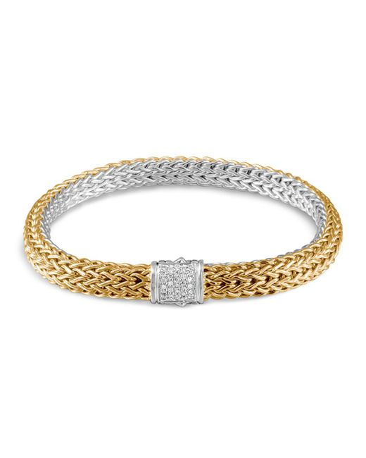 John Hardy - Metallic Classic Chain Sterling Silver And 18k Bonded Gold Medium Reversible Bracelet With Pavé Diamonds - Lyst