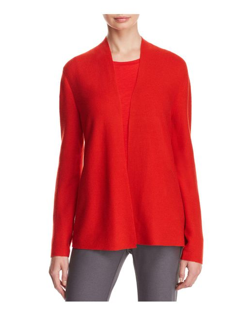 Eileen Fisher | Red Simple Open Cardigan | Lyst