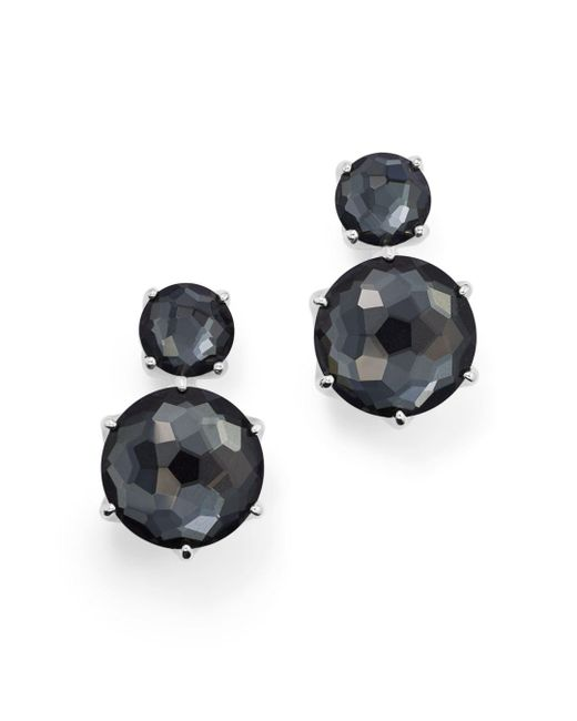 Ippolita - Black Sterling Silver Rock Candy® Two Stone Doublet Drop Earrings In Clear Quartz And Hematite - Lyst