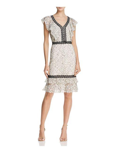 Nanette Nanette Lepore - Natural Flounced Lace Dress - Lyst
