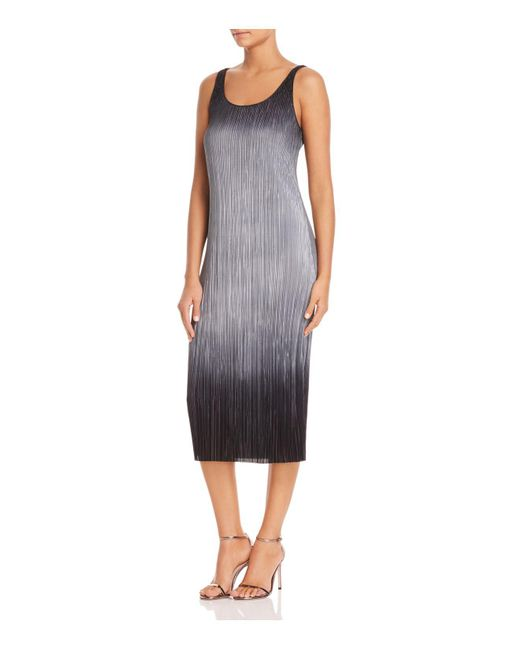 Three Dots - Black Ribbed Ombré Midi Dress - Lyst