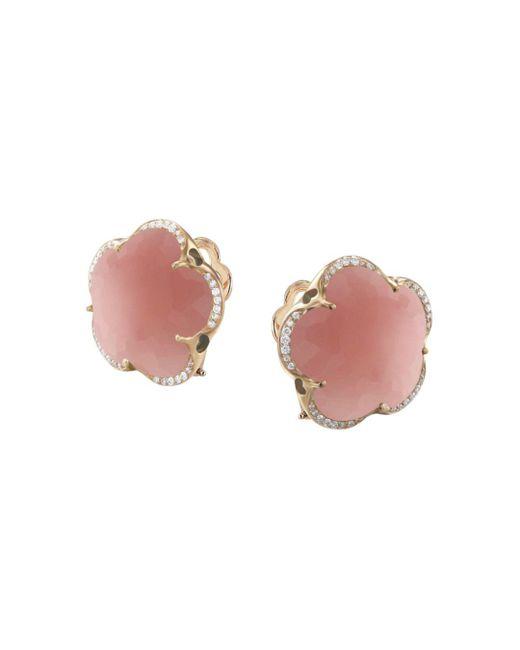 Pasquale Bruni - 18k Rose Gold Bon Ton Dark Pink Chalcedony & Diamond Floral Earrings - Lyst