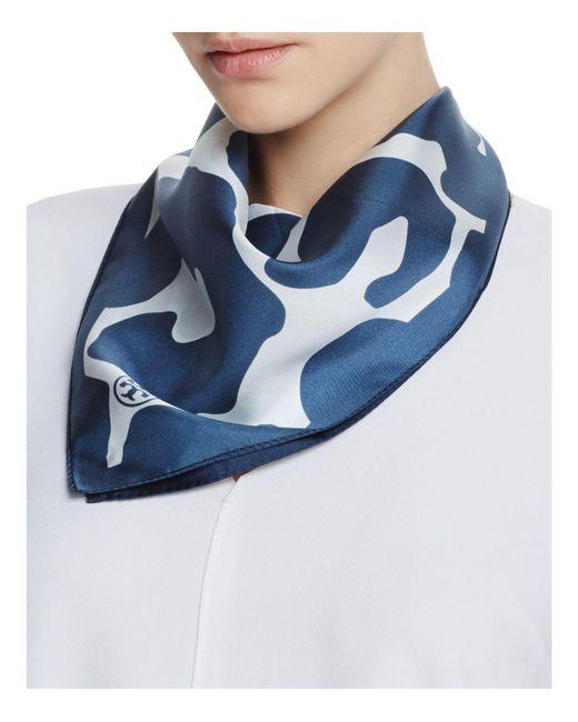 Tory Burch   Blue Clouded Leopard Silk Scarf   Lyst