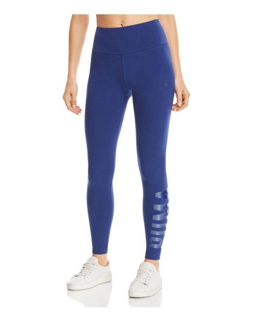PUMA | Blue Athletic Logo Leggings | Lyst