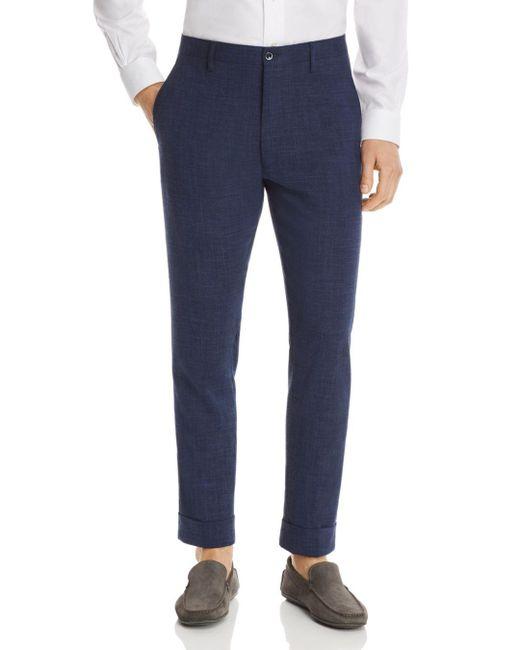 Zanella Blue Noah Mélange Solid Slim Fit Dress Pants for men