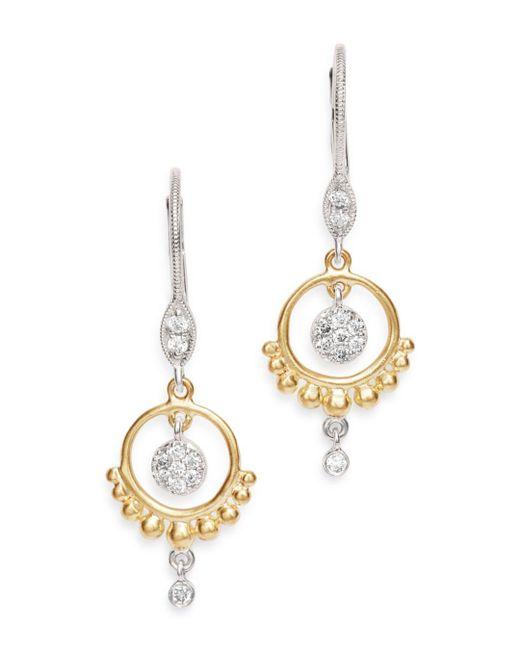 Meira T - Multicolor 14k Yellow & White Gold Open Circle Diamond Dangle Earrings - Lyst