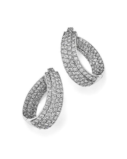 Bloomingdale's - Diamond Multi Row Inside Out Oval Hoop Earrings In 14k White Gold - Lyst