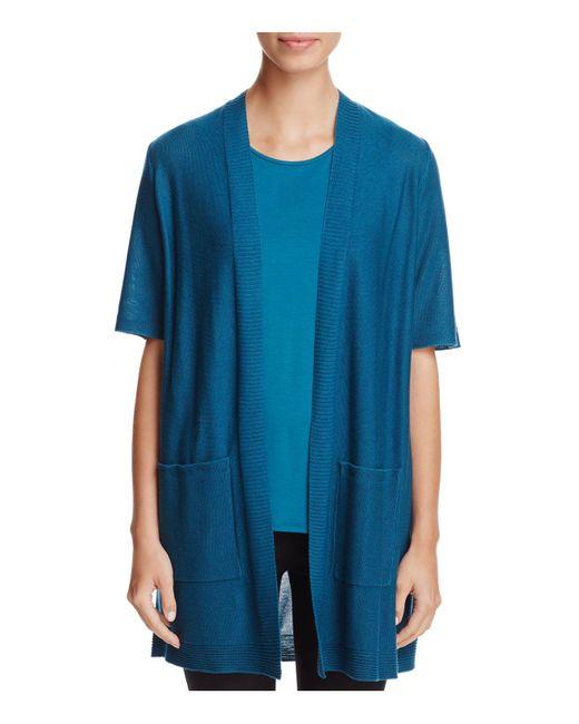 Eileen Fisher | Blue Short Sleeve Open Cardigan | Lyst