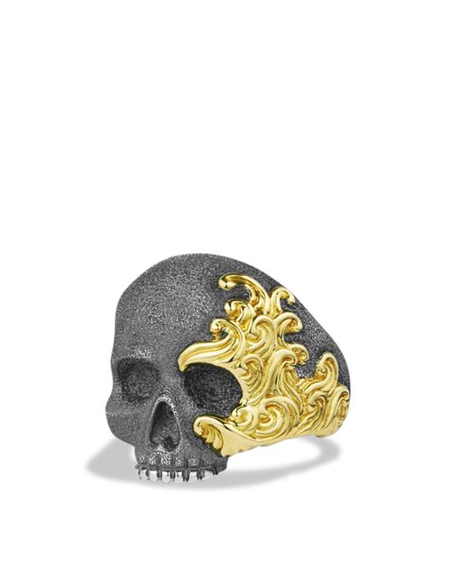 David Yurman - Metallic Waves Large Skull Ring With Gold - Lyst