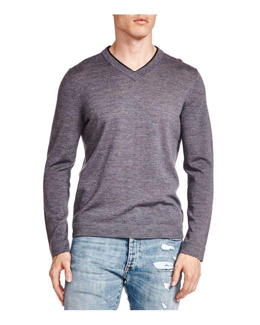 The Kooples   Gray Leather Trim Merino Wool V-neck Sweater for Men   Lyst