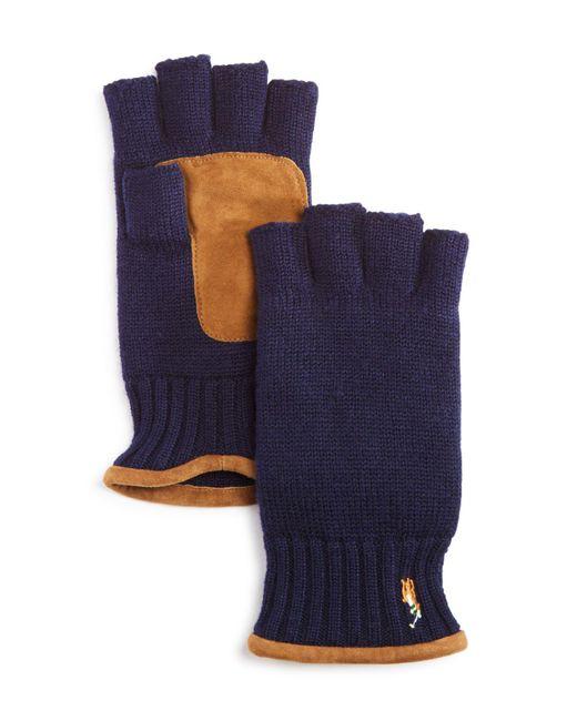 Polo Ralph Lauren | Blue Fingerless Merino Gloves for Men | Lyst